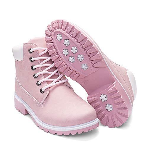 Cheville Rond À Holywin Rose Lacets Mode Rétro Bottes Épaisses Bout Chaussures Décontractées Femme Solid FK1Jcl