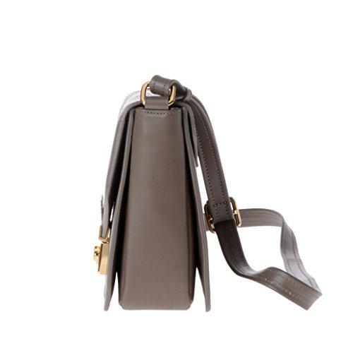 Schultertasche für Damen Made in Italy aus echtem Leder mit Träger und Überschlag von DUDU Taupe