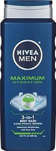NIVEA Men Maximum Hydration 3 in 1 Body Wash 16.9 Fluid Ounce (Pack of 3)