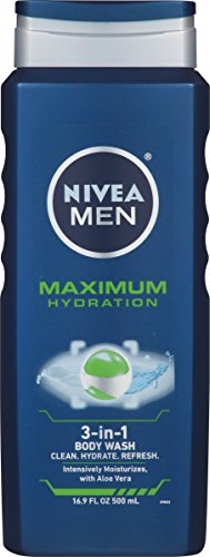 NIVEA Men Maximum Hydration 3-in-1 Body Wash, Clean, Hydrate and Refresh with Aloe Vera, 16.9 Fl Oz, Pack of 3