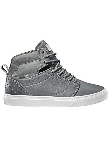 VANS Men ALOMAR Leather Hi Sneaker Skate Boot Shoes (13, Diamond grey/white)