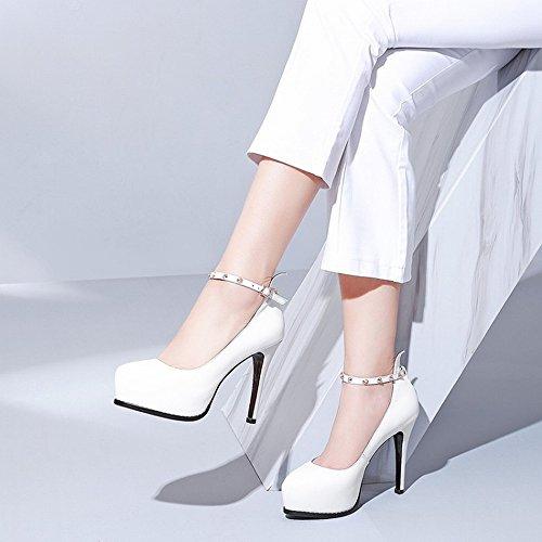 39 Zapatos Boca o Impermeables Oto de Hebilla Redondos Y Baja de Remache Palabra Primavera de Cabeza Zapatos Blanco DHG x6qAgyw0Uc