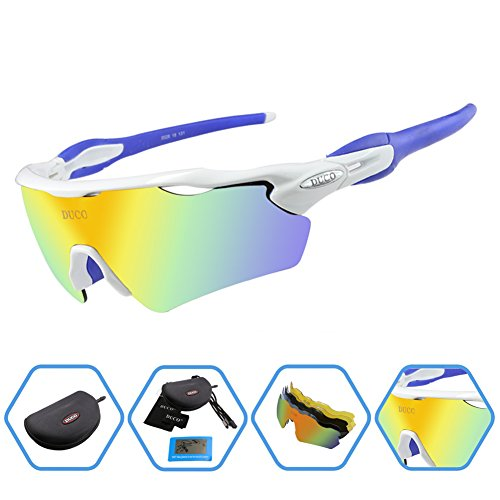Duco POLARIZED Sports Sunglasses Cycling Glasses With 5 Interchangeable Lenses - Sport Sunglasses Top