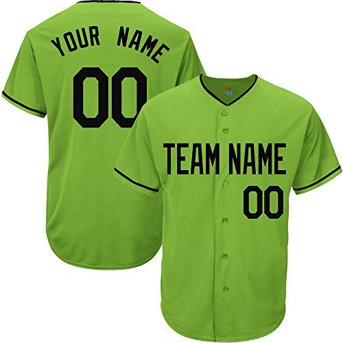 (Light Green Custom Baseball Jersey for Youth Replica Personalized Team Name & Numbers,Black Size M)