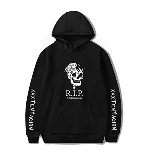 Xxxtentacion Adult Hoodie Trendy Top Hot Cool Rap Sweatshirt Skull Printed Hooded Pullover Show Respect Sweater with hat (Black, XL) ()