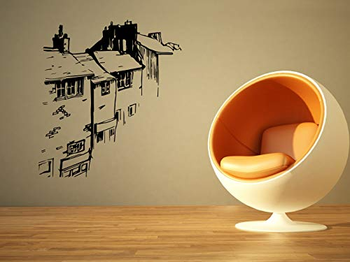 Brick Sketch - Vinyl Sticker Houses Street Bricks Sketch Mural Decal Wall Art Decor EH1365
