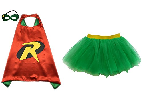Superhero or Princess TUTU, CAPE, MASK SET COSTUME - Kids Childrens Halloween (Robin - Green & Yellow)
