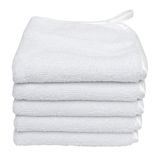 (5-Pack) Premium Travel Size 8 in. x 8 in. Microfiber Facial Towels ~ Ultra Soft and Gentle Luxury Makeup Remover Wash Cloths with Silky Satin Border ~ TRC Skin Care