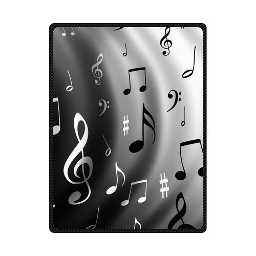 (Generic Personalized Music Notes Black And White Series Special Effect Gray Fleece Throw Blanket 58