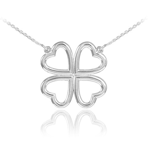 Sterling Silver Four-Leaf Heart Clover Necklace (16 (Heart Clover Necklace)