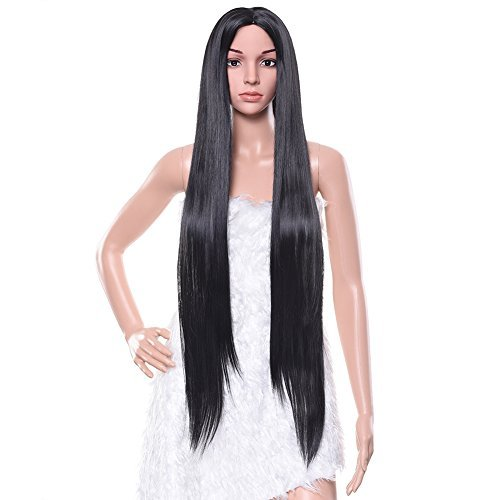 Cosplay 2016 Costumes (Pretty See Black Wig Long Straight Hair 39 inch for Cosplay, Costume Party or Daily Use Free Wig Cap, Wig Comb and Clips)