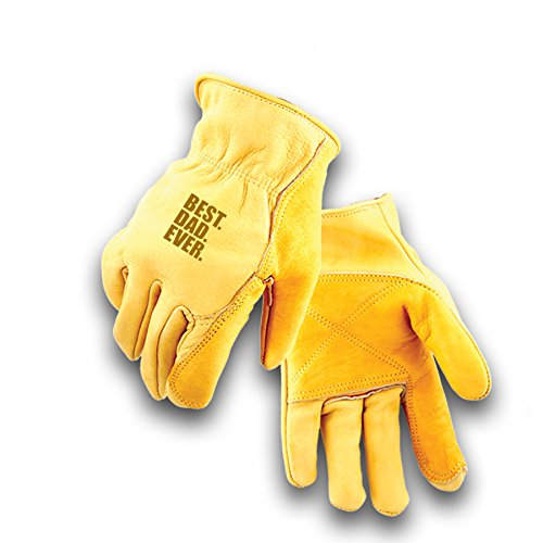 BEST DAD EVER Golden Stag Double Palm Cowhide Glove, Driver Glove, Heavy Duty, Rolled Cuff, Working Glove, Great Father Day Gift. Medium, 207 (Golden Stag Gloves)