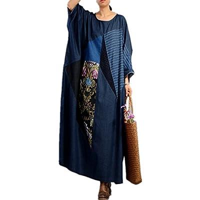 New YESNO JQ8 Women Long Fashion Casual Loose Denim Dress Lady Style Elegant Crossing Front Long Sleeve Unique Big Pockets