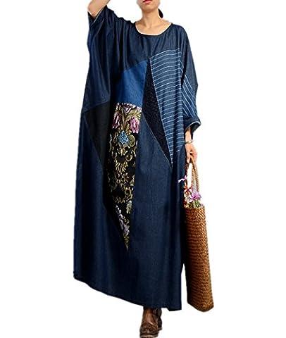 Yesno JO9 Women Loose Caftan Denim Dress Embroidery Lace Patchwork Pinstripe Plus Size Batwing Sleeve /Side - Denim Pinstripe Cap