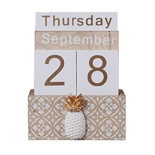 Wooden Perpetual Calendar, Buery Vintage Wood Block Perpetual Calendar Desk Accessory Month Week Date Blocks for Desk Home Office Decoration