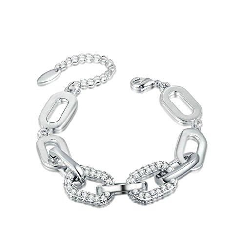 Epinki Platinum Plated Womens Girls Charm Bracelet O Link Cubic Zirconia White Gold