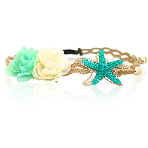 - Starfish Shell Wave Headband, Elastic Flowers Hairband, Flower Headpiece, Mermaid Hair Band