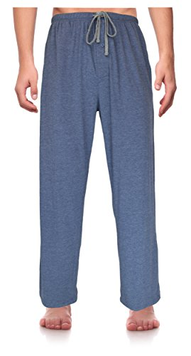 RK Classical Sleepwear Men's Knit Pajama Pants, Size X-Large Blue Heather (K0162) X-Large - Knit Sleepwear