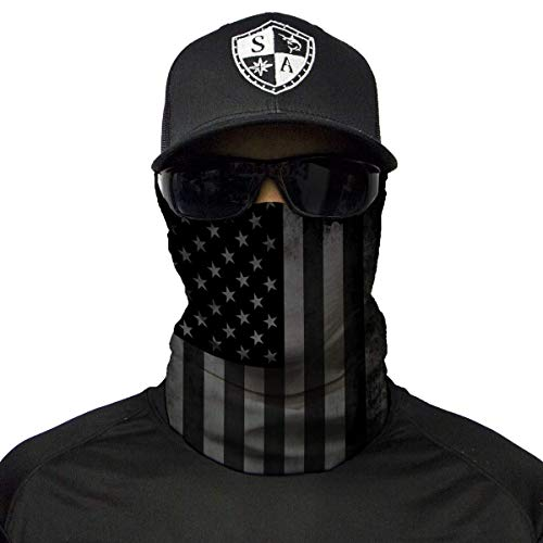 S A 1 Face Shield Blackout American Flag Face Shields for Men and Face Shields for Women - UV Face Shield -