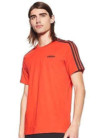Adidas Men's Essentials 3-Stripes T-Shirt, Multicolour (Active Red/black), Medium (DU0444)