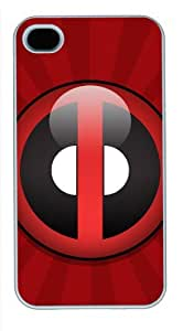 Iphone 4/4s Cover Deadpool Red Rectangle, DIY White Skin Sides PC Hard Protector Case of Cecilydreaming