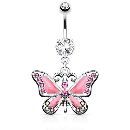Black Belly Ring Butterfly (Butterfly with Gems 14G Navel Dangle Belly Button Ring 316L Surgical Steel (Pink))