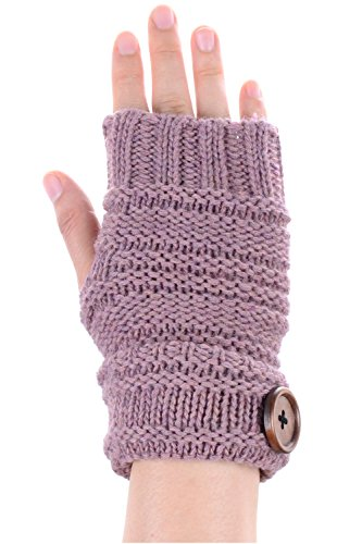BYOS Women Winter Wool Blend Chic Knitted Fingerless Gloves Hand Warmer W/ Wooden Button Turnover Cuff (Mauve)