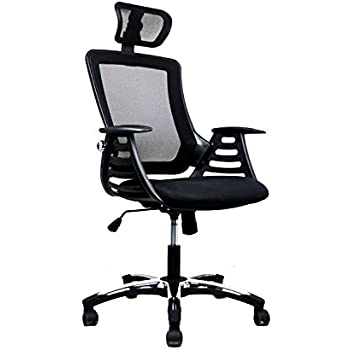 high back mesh office chair with leather effect headrest. modern high back mesh executive office chair with headrest. color: black leather effect headrest h