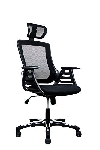 Modern High Back Mesh Executive Office Chair With Headrest.