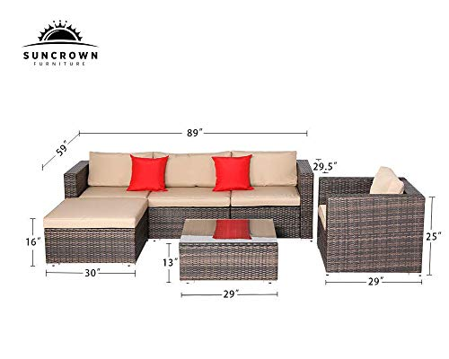 SUNCROWN Outdoor Furniture Sectional Sofa & Checkered with Seat & Glass Table   Patio, Incl. Waterproof
