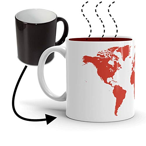 The Global Warming Coffee Mug (11oz) | Heat Sensitive Color Changing Red World Map | Unique gift idea for mom dad best friend sister brother teacher professor student science nerd tech geek DOCAZON