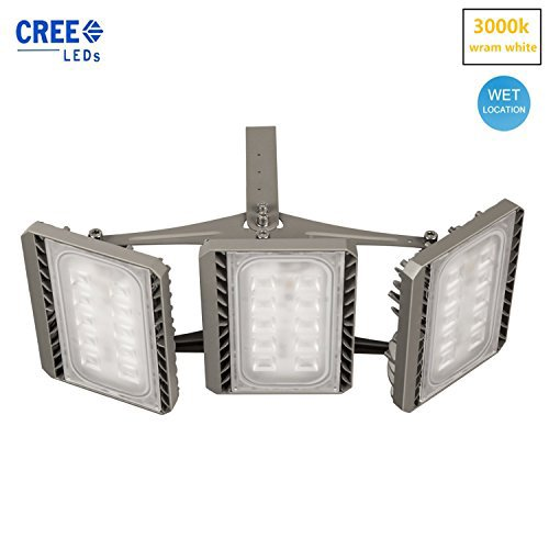 SOLLA 150W CREE LED Flood Light Outdoor 3-Head Security Lights13500LM,3000K Warm White IP65 Waterproof Floodlight Landscape Spotlight Outdoor Wall Lights (3 Floodlight)