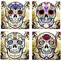 Día de los muertos Dia De Muertos - Espíritu de calavera de azúcar 4 pulgadas por 4 pulgadas Práctico de costa de baldosas de cerámica - juego de 4