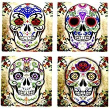 Day of the Dead Dia De Muertos - Sugar Skull Spirit 4 Inch by 4 Inch Ceramic Tile Coaster - Set of -