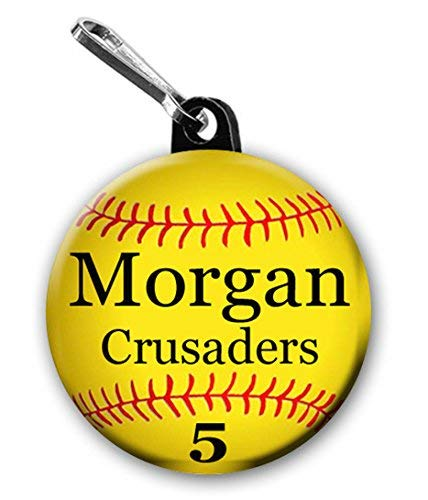 (Softball Zipper Pull/Bag Tags Two 1.5 inch Charms Personalized with Name,Number, Team Name and Color)