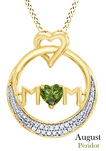 AFFY Simulated Peridot MOM Circle Pendant Necklace in 14K Yellow Gold Over Sterling Silver