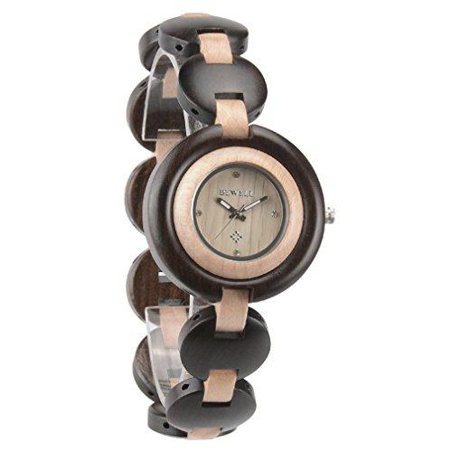 Bewell Womens Wooden Watch Handmade Quartz Movement Bracelet Watches For Women Strap Analog Black And Maple Wood Wristwatch W010a