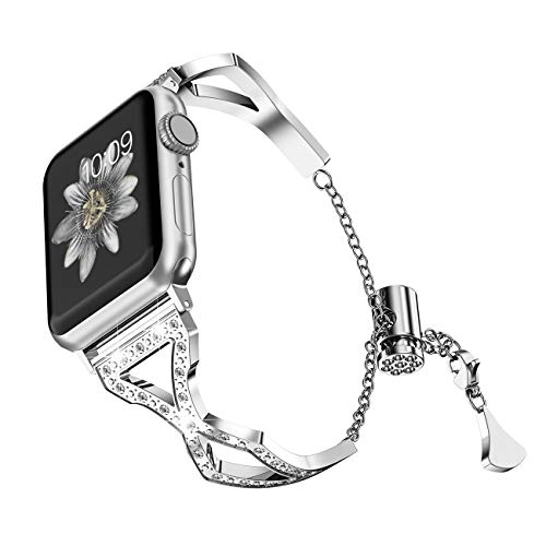 TOYOUTHS Bling Bracelet Compatible with Apple Watch Band 38mm 40mm Silver for Women Series 4 Stainless Steel Replacement Wristbands fit iWatch Series 3 2 1 Metal Cuff Bangle Strap with - Bangle Diamond Beautiful