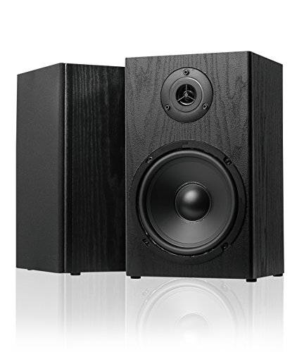 SIMING BK265 6-1/2″ 2-Way Black Woodgrain Bookshelf Speakers (PAIR)
