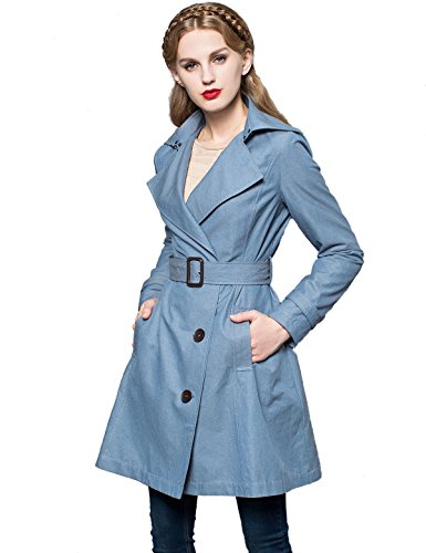 Artka Women's Fashion Slim Long Sleeve Trenchcoat With Pockets and Sashes Blue Size L A-line Cotton Trench Coat