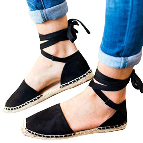 JJLIKER Women Suede Espadrilles Closed Toe Flats Summer Comfortable Casual Pregnant Ankle Lace Up Sandals Loafers Black