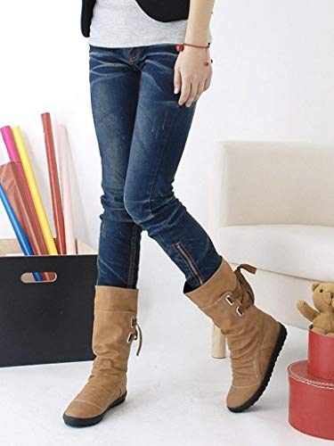 Gyoume Ladies Winter Calf Boots Shoes Buckle Boots Flat Wedge Boots Shoes Women Biker Shoes