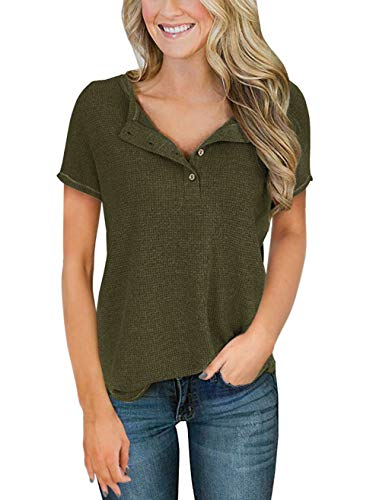 TEMOFON Women's Top Long Sleeve Waffle Knit Tunic Casual Loose Fit Henley Sweater Shirts with Buttons S-2XL