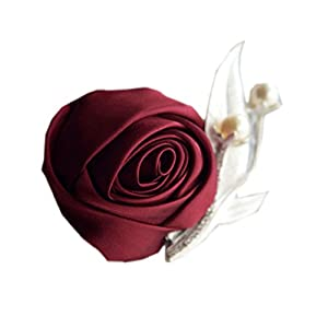 MOJUN Groom Groomsmen Brooch Satin Rose Boutonniere for Prom Party Wedding 89