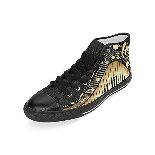 D-story Note Musicali Personalizzate Con Tastiera Per Pianoforte Mens Classic High Top Scarpe Di Tela Sneaker Di Moda