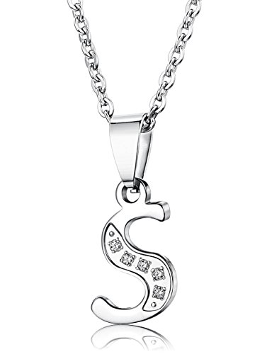 FIBO STEEL Stainless Steel Alphabet Initial Letters Pendant Necklace CZ Inlaid 22 inches, Letter S
