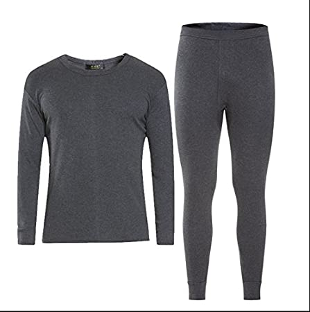GOZAR MenS Ultra-Soft Thin Section Of The Young Self-Cultivation Cotton Thermal Underwear /& Bottom Underwear Set-Dark Gray-L
