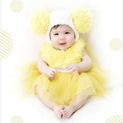 Wow Lovely Baby Girls' Yellow Chick Tutu Dress Costume with Matching Cute Pom Pom Hat Set for Birthday and Party Dress UP (L 12-24 Month)