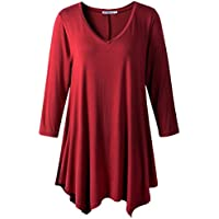 JollieLovin Womens Plus Size 3/4 Sleeve Loose-fit T Shirt for Leggings Tunic Top