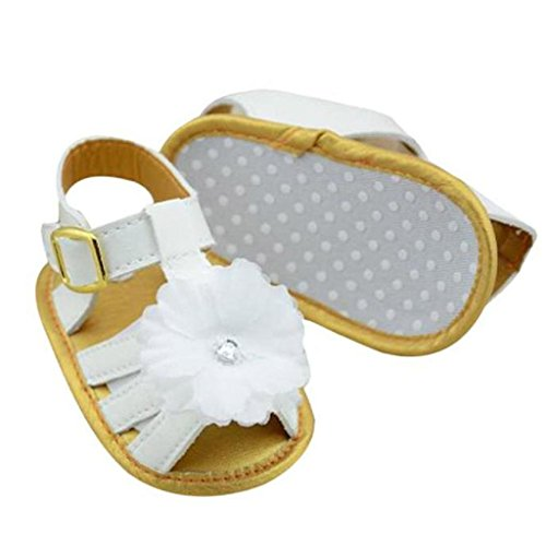 Koly Prewalker Zapatos, primeros pasos para bebé-niñas, sandalias de bebé, flor blanca (11CM)